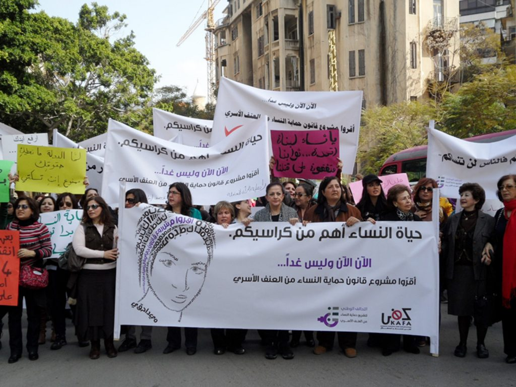 Already in February 2013, several hundred protesters marched through the streets of Beirut to demand a law to better protect women from violence. Photo : Joelle Hatem / Flickr Cc