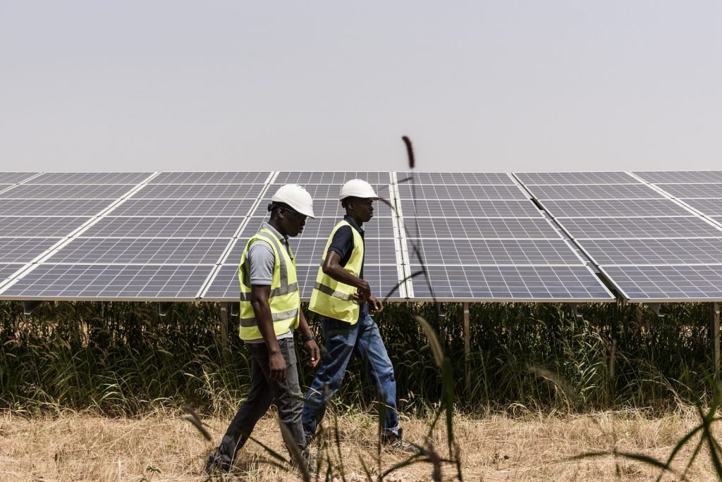Inaugurated in fall 2017, the Zagtouli solar power plant, located in the outskirts of the capital of Burkina Faso, in Ouagadougou, supplies 5 to 6% of the country's annual electricity demand. Photo: © Erwan Rogard for AFD 2017