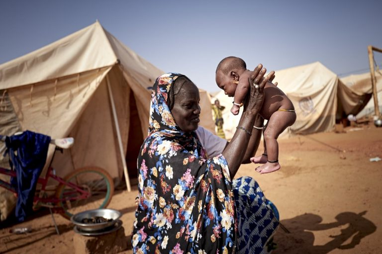At a camp for displaced people in Sévaré, central Mali, March 2020. (MICHELE CATTANI / AFP)