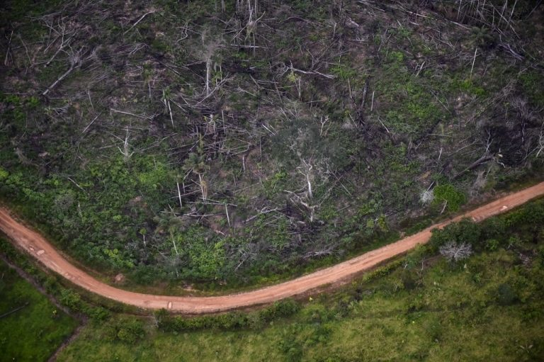 Vue aérienne de la déforestation illégale qui sévit au parc national naturel de La Macarena en Colombie, en septembre 2020. (Photo by Raul ARBOLEDA / AFP)