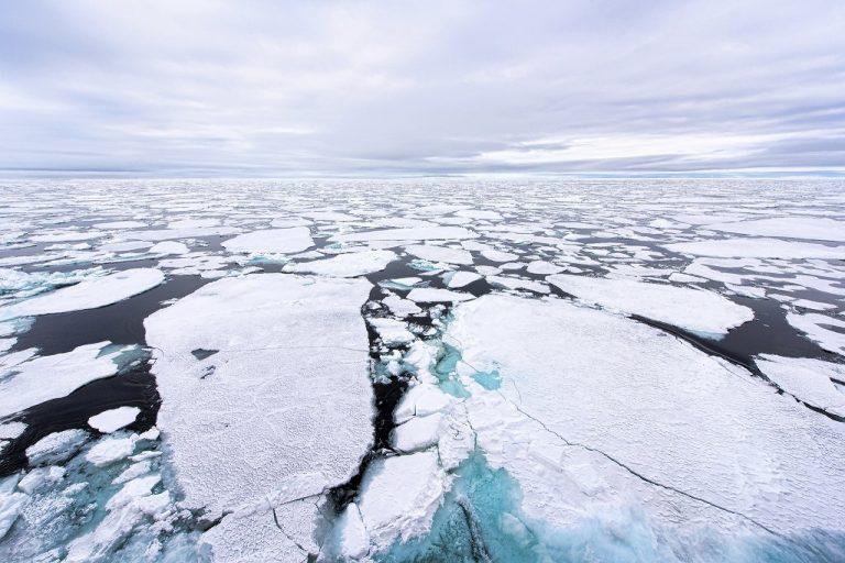 En partie dû au réchauffement climatique, les calottes glaciaires perdent de la surface chaque année. Photo : Pôle Nord / Christopher Michel Flickr Cc